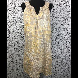 Loft Yellow and Gray Abstract Print Linen Dress